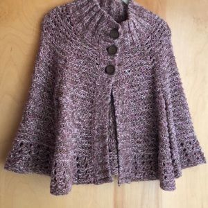 Free People brown pink 3-button cardigan sweater S